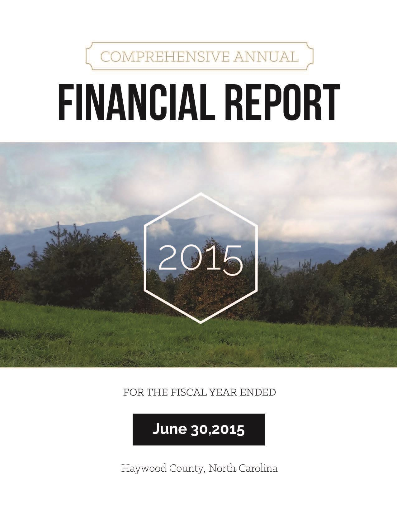 Comprehensive Annual Financial Report 2015 Cover Opens in new window