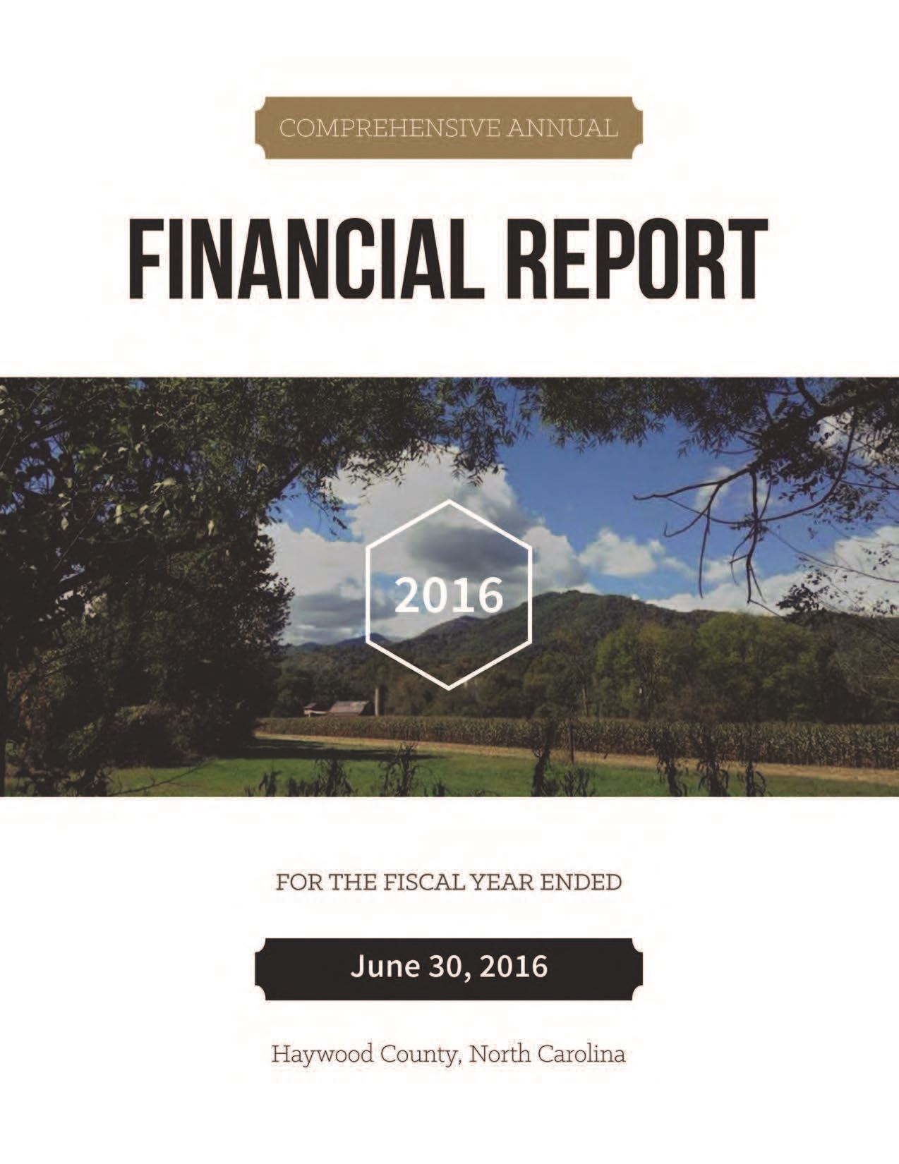 Comprehensive Annual Financial Report 2016 Cover Opens in new window